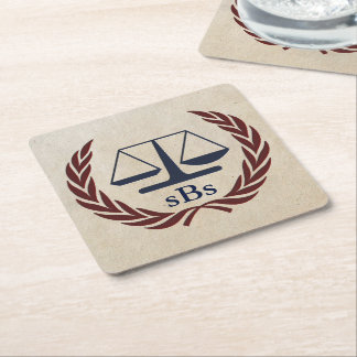 Scales of Justice Personalized Lawyer Gifts Square Paper Coaster