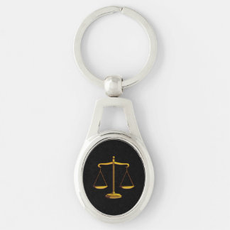 Scales of Justice Silver-Colored Oval Metal Keychain