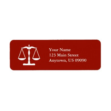Scales Of Justice Return Address Labels (Burgandy)