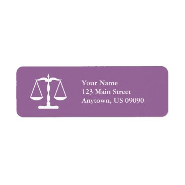 Scales Of Justice Return Address Labels (Eggplant)