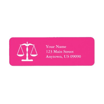 Scales Of Justice Return Address Labels (Hot Pink)