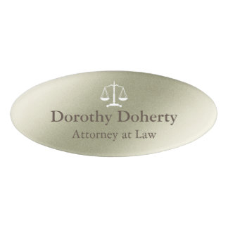 Scales of Justice Silver Gray Tone Background Name Tag
