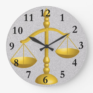SCALES OF LAW AND JUSTICE LARGE CLOCK