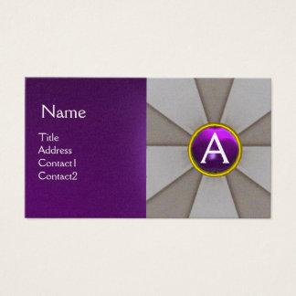 SCALES OF LAW,ATTORNEY MONOGRAM Purple Platinum Business Card