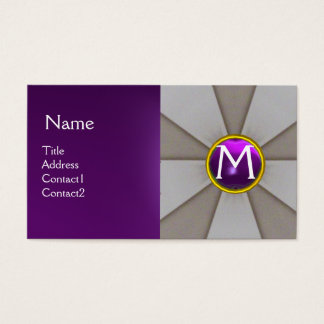 SCALES OF LAW,LEGAL,ATTORNEY MONOGRAM Grey Purple Business Card