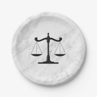 Scales on Marble Paper Plate