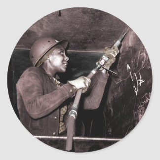 Scaling a WWII Ship Classic Round Sticker