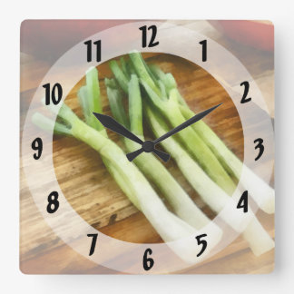 Scallions Square Wall Clock