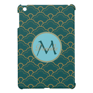 Scallop Bluegreen Teal Gold Seigaiha Japan Orient Case For The iPad Mini
