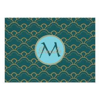 Scallop Bluegreen Teal Gold Seigaiha Japan Orient Personalized Invite
