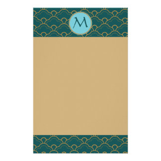 Scallop Bluegreen Teal Gold Seigaiha Japan Orient Stationery