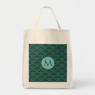 Scallop Bluegreen Teal Gold Seigaiha Japan Orient Tote Bag
