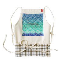 scallop pattern,art deco,seablue,aquamarine,mint, zazzle HEART apron