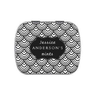 Scallop Scale Pattern Personalized Black and White Jelly Belly Candy Tin