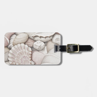Scallop Sea Shells and Pebbles in Coloured Pencil Bag Tag