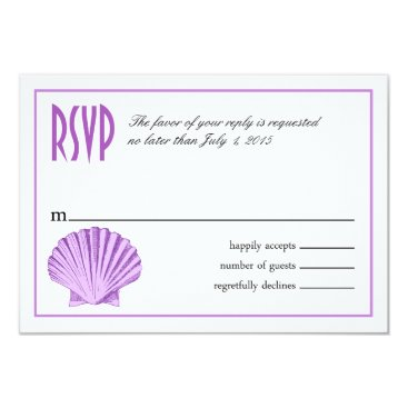 Beach Themed Scallop Seashell Beach RSVP | lilac Card