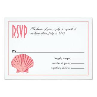 Scallop Seashell Beach RSVP | peony pink Card