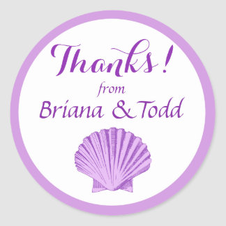 Scallop Seashell Beach Thank You | lilac Classic Round Sticker