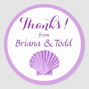 Beach Themed Scallop Seashell Beach Thank You | lilac Classic Round Sticker
