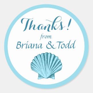Scallop Seashell Beach Thank You | mint blue Classic Round Sticker