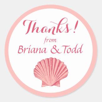 Scallop Seashell Beach Thank You | peony pink Classic Round Sticker