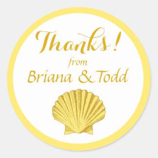 Scallop Seashell Beach Thank You | yellow Classic Round Sticker