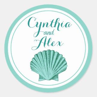 Scallop Seashell Beach Wedding | aqua Classic Round Sticker