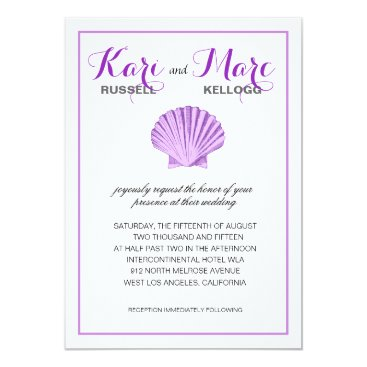 Beach Themed Scallop Seashell Beach Wedding | lilac Card