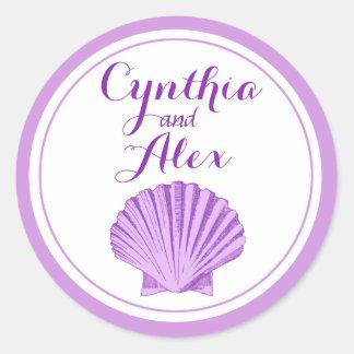 Scallop Seashell Beach Wedding | lilac Classic Round Sticker