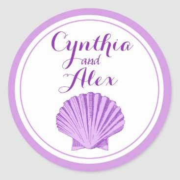 Beach Themed Scallop Seashell Beach Wedding | lilac Classic Round Sticker