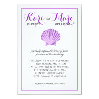 Scallop Seashell Beach Wedding | lilac Invitation