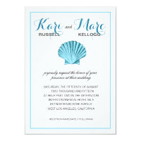 Scallop Seashell Beach Wedding | mint blue Invitation