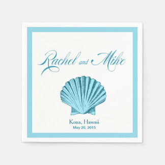 Scallop Seashell Beach Wedding | mint blue Napkin