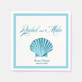 Scallop Seashell Beach Wedding | mint blue Disposable Napkins