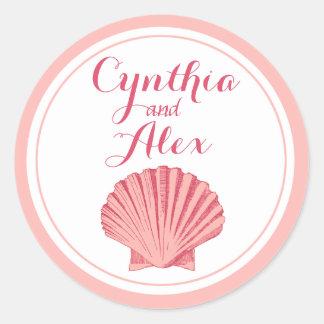 Scallop Seashell Beach Wedding | peony pink Classic Round Sticker