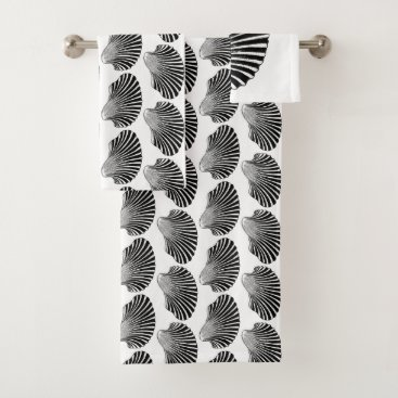 Beach Themed Scallop Shell Block Print, Black and White Bath Towel Set