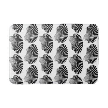Beach Themed Scallop Shell Block Print, Black and White Bathroom Mat