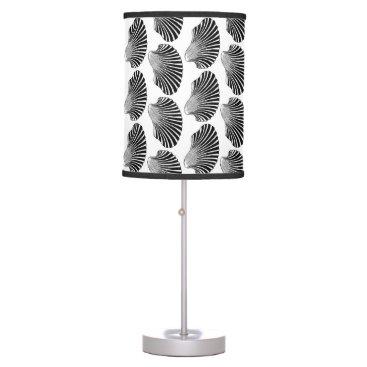 Beach Themed Scallop Shell Block Print, Black and White Desk Lamp