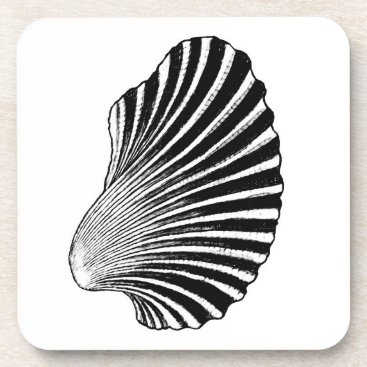 Beach Themed Scallop Shell Block Print, Black and White Drink Coaster