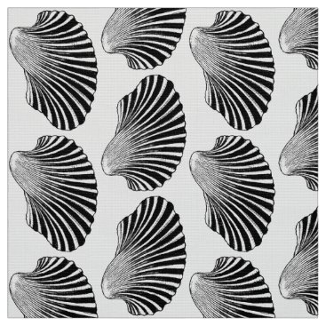 Beach Themed Scallop Shell Block Print, Black and White Fabric
