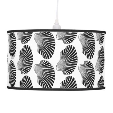 Beach Themed Scallop Shell Block Print, Black and White Hanging Lamp