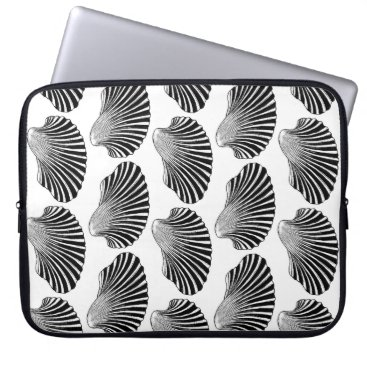 Beach Themed Scallop Shell Block Print, Black and White Laptop Sleeve