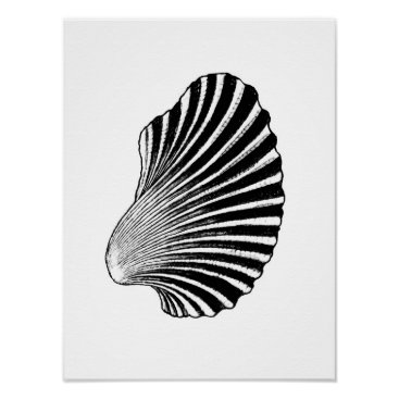 Beach Themed Scallop Shell Block Print, Black and White Poster