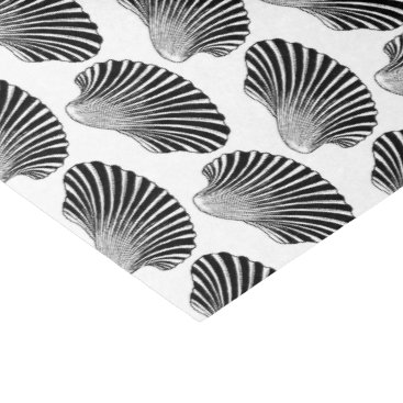 Beach Themed Scallop Shell Block Print, Black and White Tissue Paper