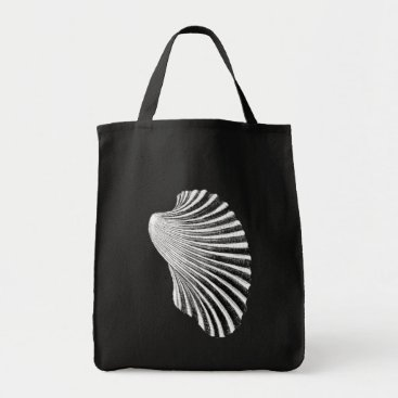 Beach Themed Scallop Shell Block Print, Black and White Tote Bag