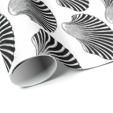 Beach Themed Scallop Shell Block Print, Black and White Wrapping Paper