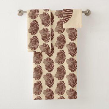Beach Themed Scallop Shell Block Print, Brown and Beige Bath Towel Set
