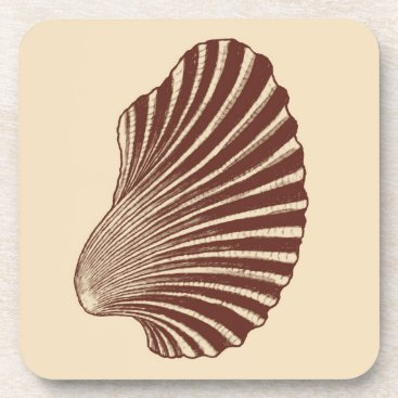 Beach Themed Scallop Shell Block Print, Brown and Beige Beverage Coaster