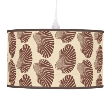 Beach Themed Scallop Shell Block Print, Brown and Beige Ceiling Lamp
