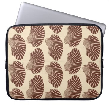 Beach Themed Scallop Shell Block Print, Brown and Beige Computer Sleeve